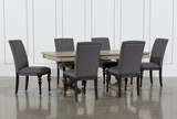 Caira 7 Piece Rectangular Dining Set With Upholstered Side Chairs - Signature