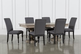 Caira 7 Piece Rectangular Dining Set With Upholstered Side Chairs