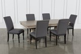Caira 7 Piece Rectangular Dining Set With Upholstered Side Chairs - Top