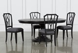 Caira Black 5 Piece Round Dining Set With Diamond Back Side Chairs - Signature