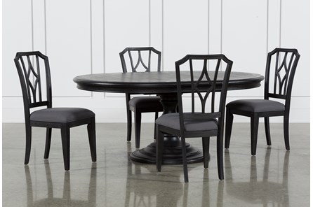 Caira Black 5 Piece Round Dining Set With Diamond Back Side Chairs - Main