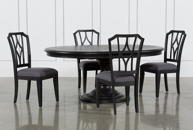 Caira Black 5 Piece Round Dining Set With Diamond Back Side Chairs - 360