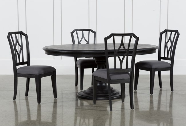 Caira Black 5 Piece Round Dining Set With Diamond Back Side Chairs 360