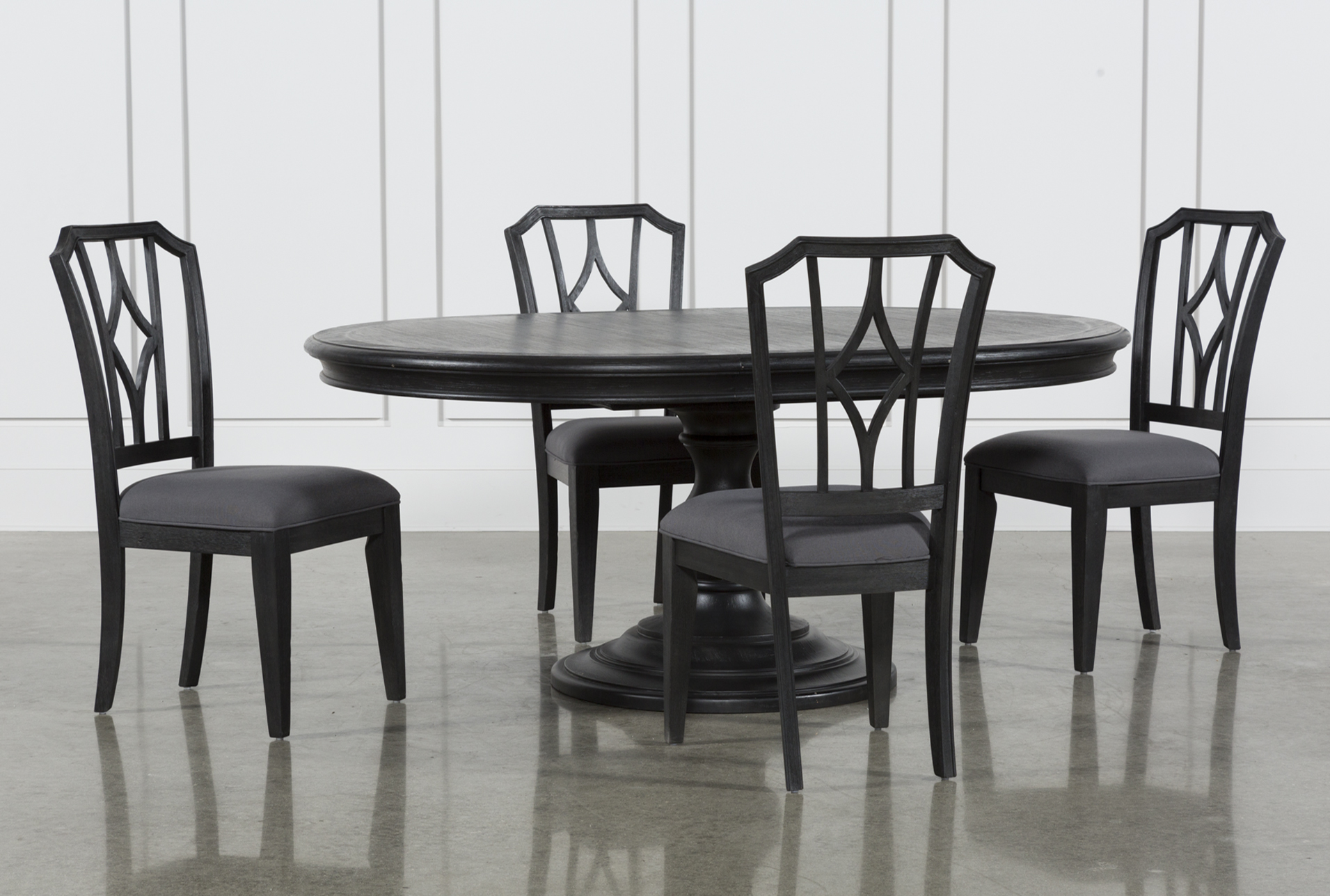 Caira Black 5 Piece Round Dining Set With Diamond Back Side Chairs
