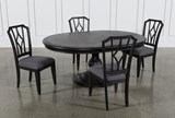 Caira Black 5 Piece Round Dining Set With Diamond Back Side Chairs - Top