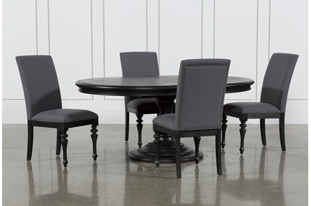Caira Black 5 Piece Round Dining Set With Upholstered Side Chairs - Main