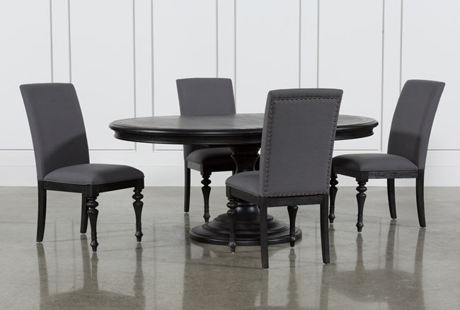 Caira Black 5 Piece Round Dining Set With Upholstered Side Chairs - 360