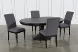 Caira Black 5 Piece Round Dining Set With Upholstered Side Chairs - Top