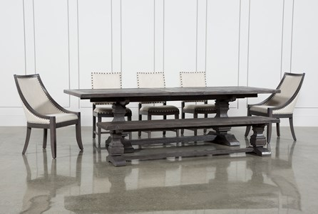 Norwood 7 Piece Rectangular Extension Dining Set With Bench, Host & Side Chairs