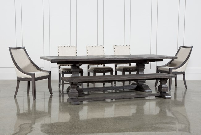 Norwood 7 Piece Rectangular Extension Dining Set With Bench, Host & Side Chairs - 360