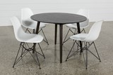 Swift 5 Piece Round Dining Set With Alexa White Side Chairs - Top