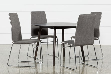 Swift 5 Piece Round Dining Set With Oliver Side Chairs