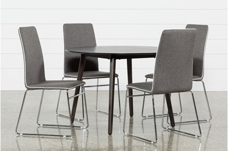 Swift 5 Piece Round Dining Set With Oliver Side Chairs - Main