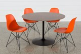 Vespa 5 Piece Round Dining Set With Alexa Firecracker Side Chairs - Top