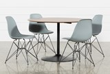 Vespa 5 Piece Round Dining Set With Alexa Grey Side Chairs - Signature