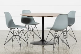 Vespa 5 Piece Round Dining Set With Alexa Grey Side Chairs