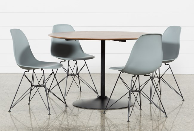 Vespa 5 Piece Round Dining Set With Alexa Grey Side Chairs - 360