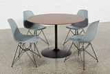 Vespa 5 Piece Round Dining Set With Alexa Grey Side Chairs - Top