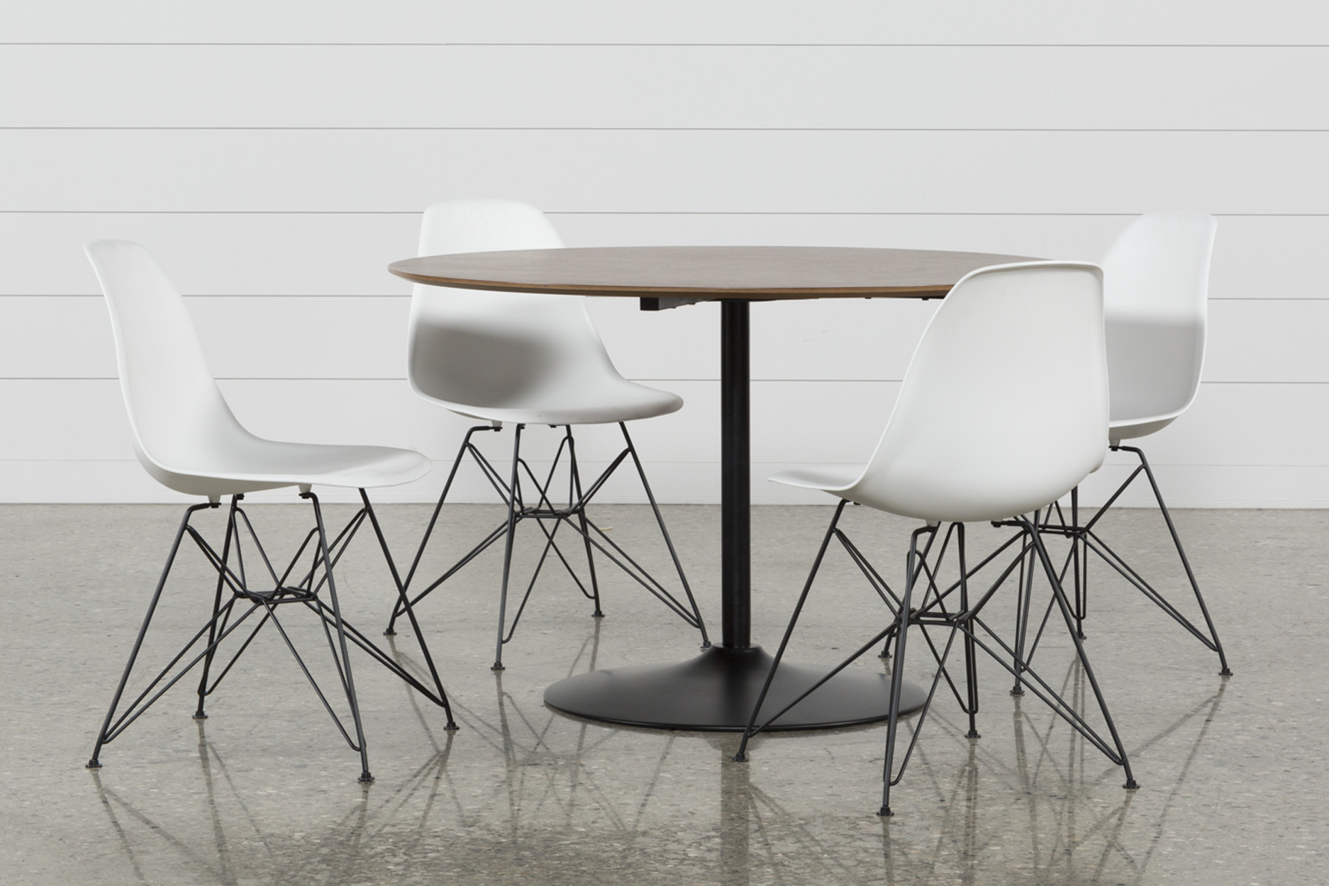 Vespa 5 Piece Round Dining Set With Alexa White Side Chairs   360