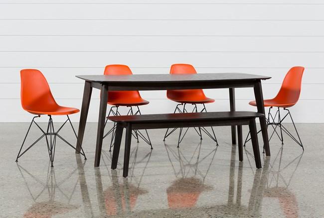 Swift 6 Piece Rectangular Dining Set With Alexa Firecracker Side Chairs - 360