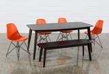 Swift 6 Piece Rectangular Dining Set With Alexa Firecracker Side Chairs - Top