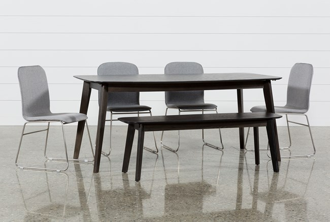 Swift 6 Piece Rectangular Dining Set With Zoey Side Chairs - 360