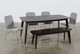 Swift 6 Piece Rectangular Dining Set With Zoey Side Chairs - Top