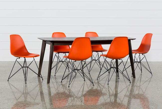 Swift 7 Piece Rectangular Dining Set With Alexa Firecracker Side Chairs - 360