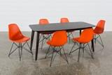 Swift 7 Piece Rectangular Dining Set With Alexa Firecracker Side Chairs - Top