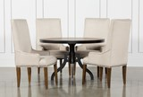 Foundry 5 Piece Round Dining Set With Cooper Upholstered Chairs - Signature