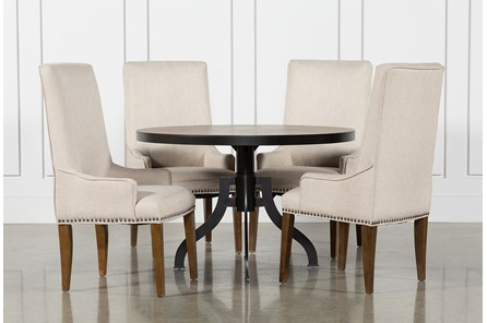 Foundry 5 Piece Round Dining Set With Copper Upholstered Chairs - Main