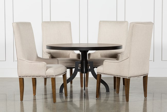 Foundry 5 Piece Round Dining Set With Cooper Upholstered Chairs - 360