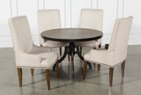 Foundry 5 Piece Round Dining Set With Cooper Upholstered Chairs - Front