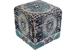 Pouf-Worn In Blue 18X18