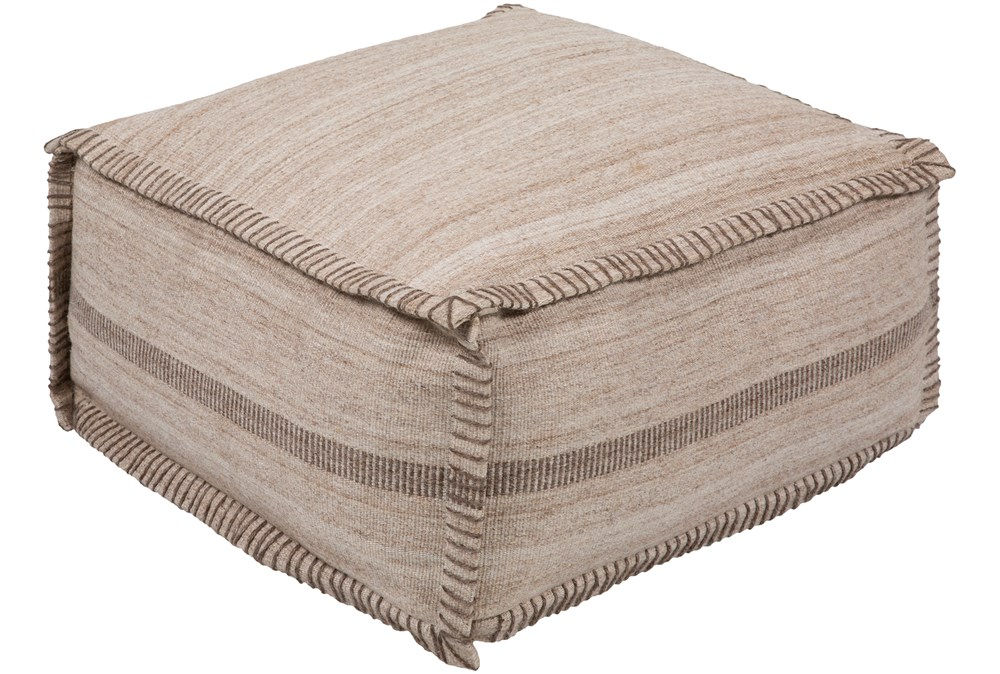 Pouf-Khaki And Brown Stripe