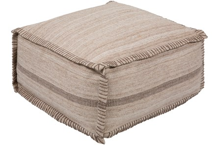 Pouf-Khaki And Brown Stripe - Main
