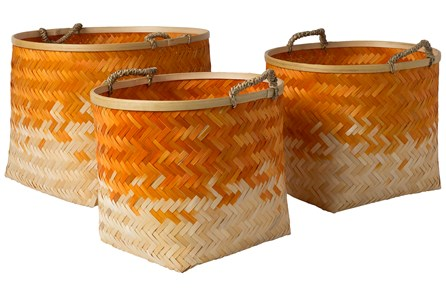 Basket-Set Of 3 Orange Bamboo