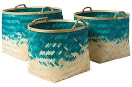Basket-Set Of 3 Blue Bamboo