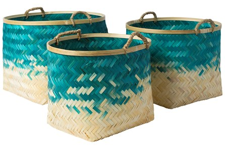Basket-Set Of 3 Blue Bamboo