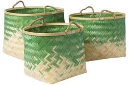 Basket-Set Of 3 Green Bamboo