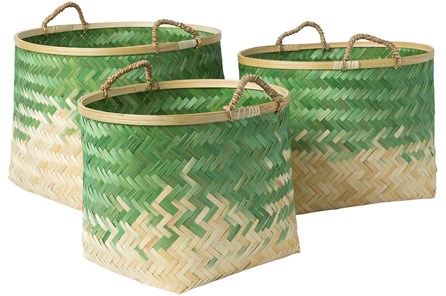 Basket-Set Of 3 Green Bamboo