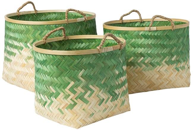 Basket-Set Of 3 Green Bamboo - 360