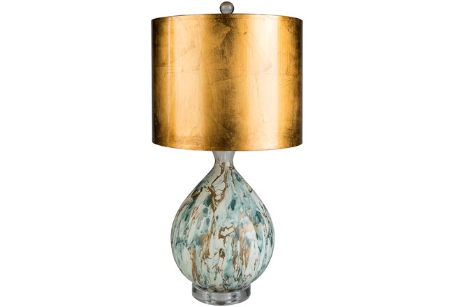 Table Lamp-Coppered Marble - 360