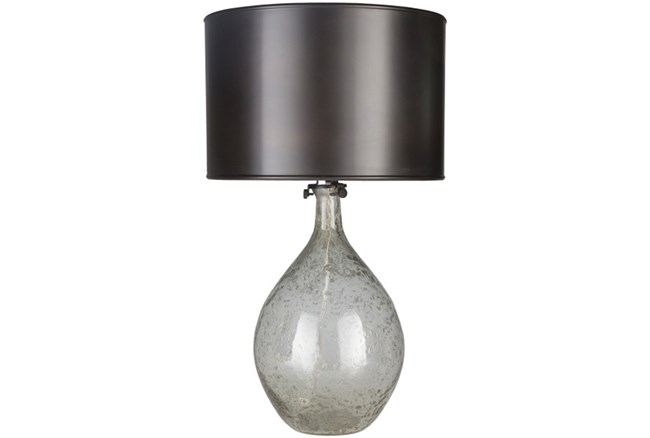 Table Lamp-Clear Glass With Metal Shade - 360