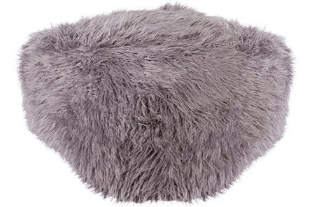Pouf-Youth Faux Fur Light Grey - Main