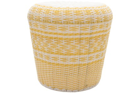 Butter Yellow Woven Stool - Main