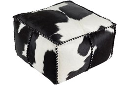 Pouf-Black Animal Print