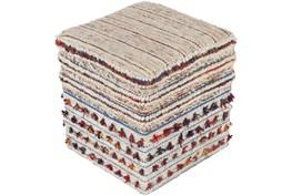 Pouf-Natural Multicolor With Tassle 18X18