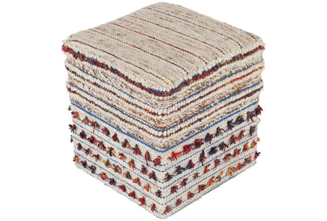 Pouf-Natural Multicolor With Tassle 18X18 - 360