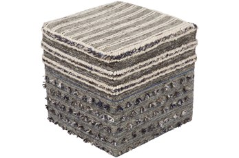 Pouf-Grey Multicolor With Tassle 18X18